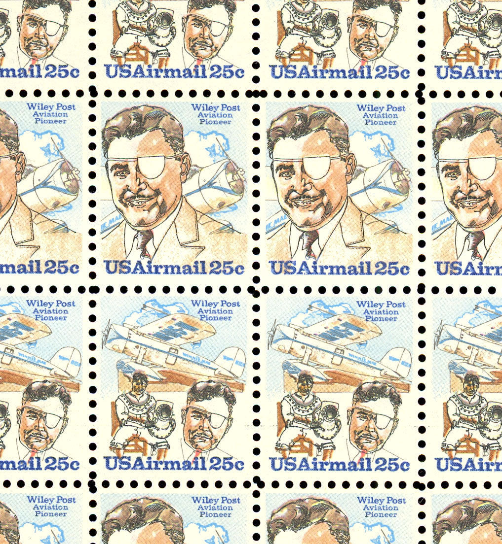 C95-96a Complete Sheet of 100 Wiley Post 25 Cent Airmail Stamps - Stuart Katz
