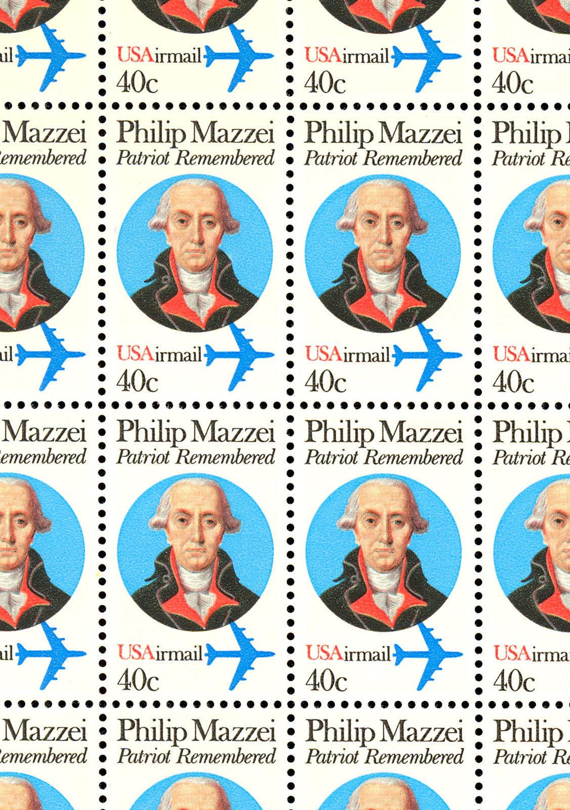 C98 Complete Sheet of 50 Philip Mazzei 40 Cent Airmail Stamps - Stuart Katz