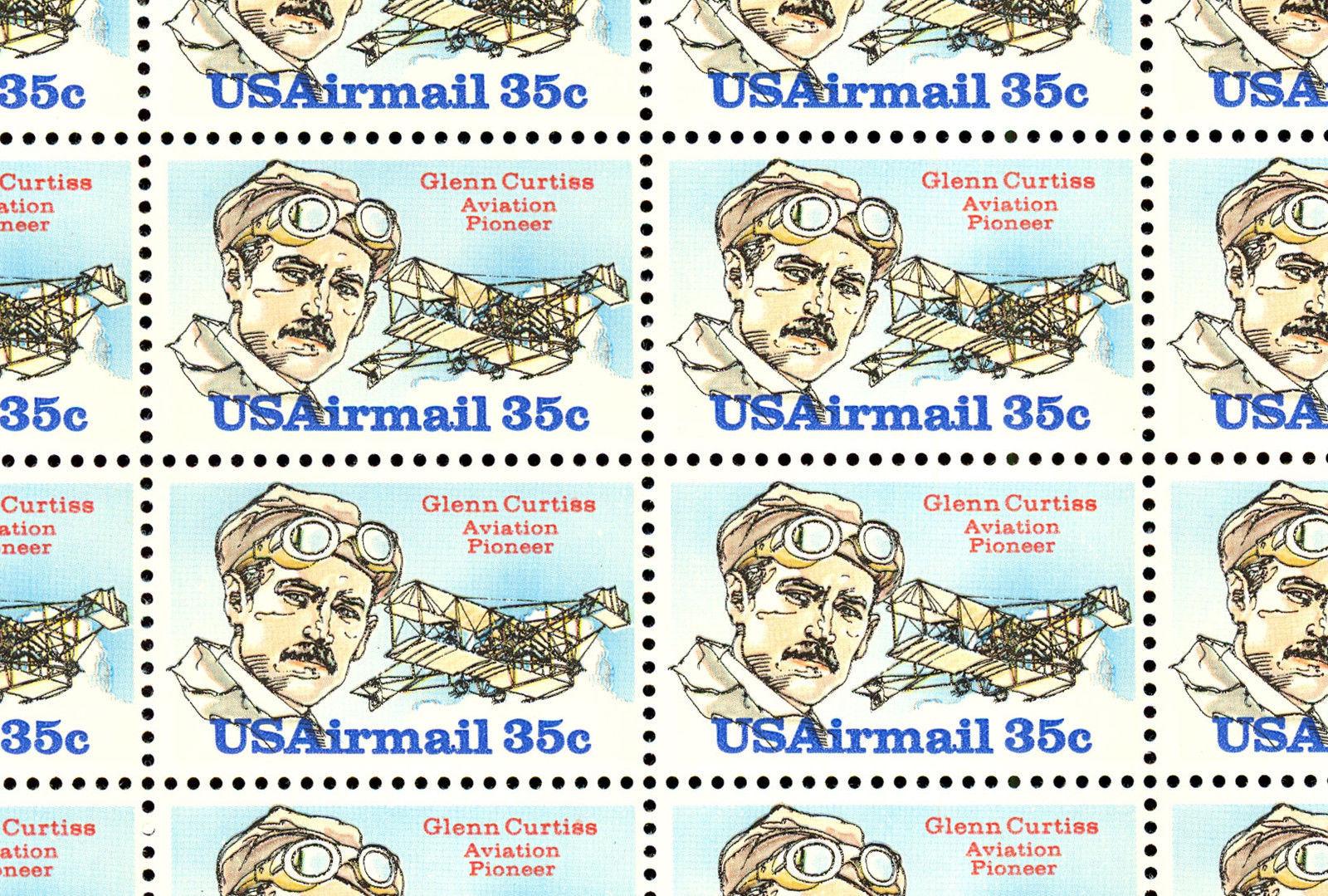 C100 Complete Sheet of 50 Glenn Curtis 35 Cent Airmail Stamps - Stuart Katz