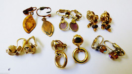 Lot of  6 gold tone metal copper fancy pretty leaf beads Ring rope clip earrings - $34.65