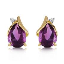 3.16 Ct 14k Solid Yellow Gold Stud Earring Diamond Amethyst - $349.82
