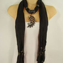 Women Scarf Dark Brown Soft Fashion Long Necklace Big Metal Leaf Pendant... - £14.14 GBP