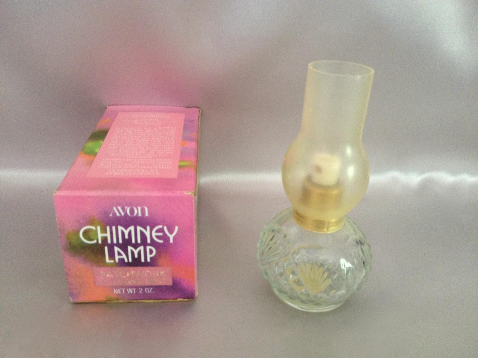 Avon Chimney Lamp Patchwork Cologne Mist Empty Mini Vintage Collectible