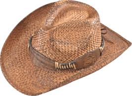 Henschel Hand Stained Raffia Straw Cowgirl Cowboy Hat Leather Band Dark ... - $48.00