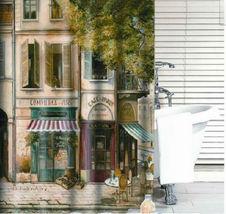 Vintage Style STREET CORNER CAFE Design 185 x 185 cm Bathroom Use SHOWER... - $23.99