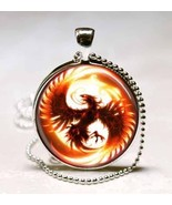 Phoenix Mythical Fire Bird Glass Dome Necklace Pendant (PD0127) - $10.99