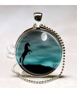 Horse and Moon Photo Glass Dome Pendant (PD0060) - $10.99