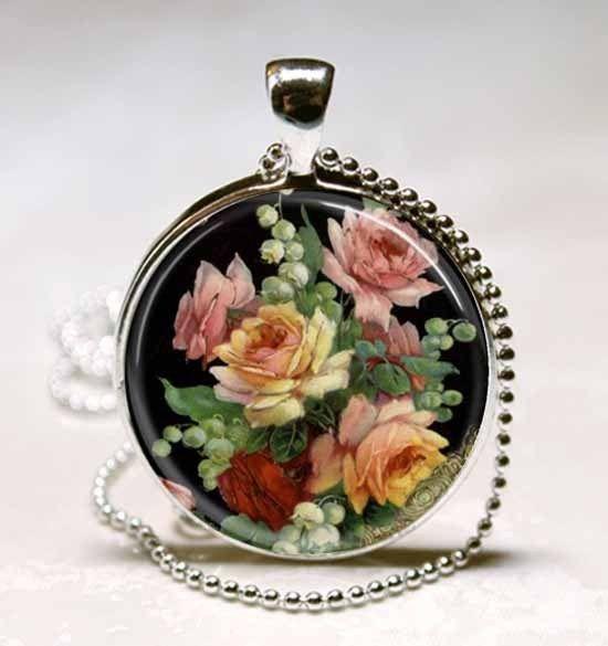 Vintage Floral Flower Glass Tile Necklace Pendant