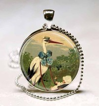 Vintage Victorian Stork and Baby Carriage Glass Tile Necklace Pendant - $10.99