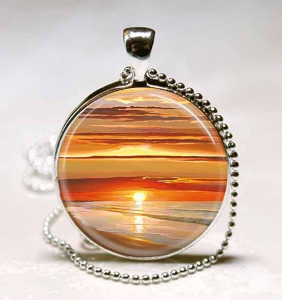 Sunset Over Water Glass Tile Jewelry Necklace Pendant