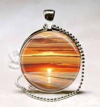 Sunset Over Water Glass Tile Jewelry Necklace Pendant - $10.99