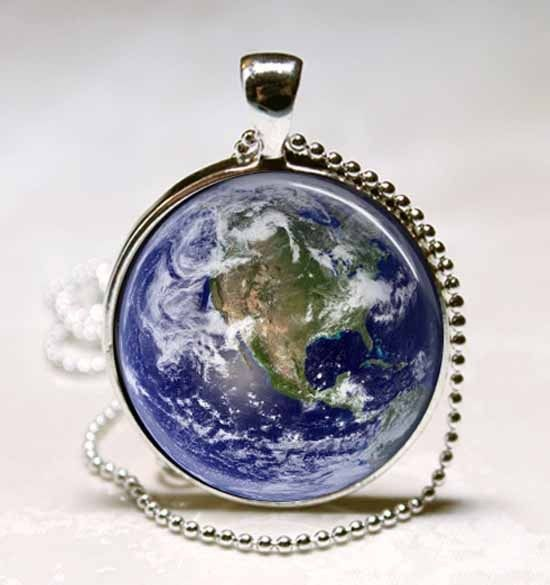 Earth Showing North America Map Glass Dome Jewelry Necklace Pendant (PD0132)