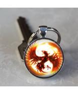Phoenix Mythical Fire Bird Glass Dome Keychain (GDKC0127) - $10.99