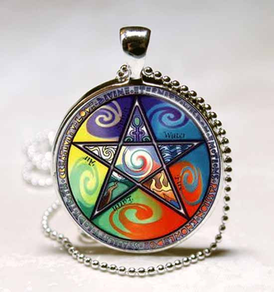 Wiccan Astrology Fire Air Earth Water Glass Dome Necklace Pendant (PD0236)