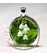Lily of the Valley Flower Photo Glass Dome Necklace Pendant (PD0256) - $10.99