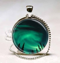 Aurora Borealis in the Night Sky of Alaska Glass Dome Necklace Pendant (PD0109) - $10.99