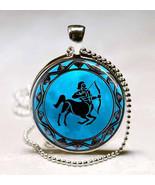 Sagittarius Zodiac Horoscope Blue Moon Background Glass Dome Pendant (PD... - $10.99