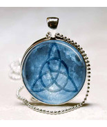 Triquetra with Full Moon Background Photo Glass Dome Pendant (PD0226) - $10.99