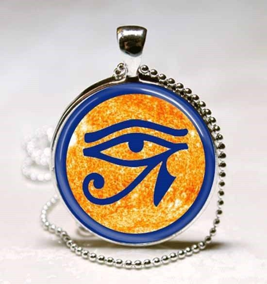 Eye of Ra - Egyptian Sun God Symbol Glass Dome Necklace Pendant (PD0502)
