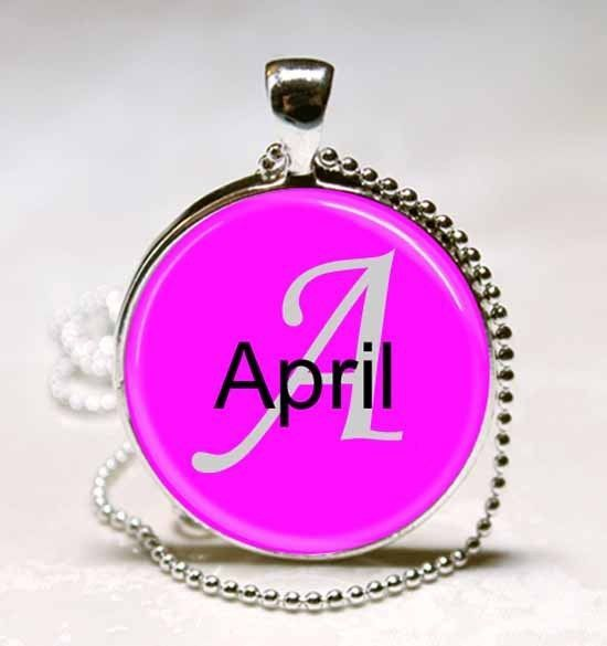 Handmade April Name Monogram Glass Dome Necklace Pendant (NPD0090)
