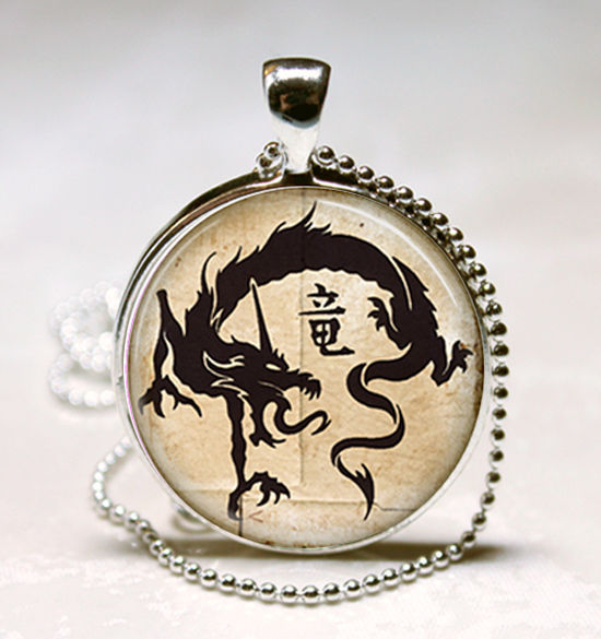 Chinese Dragon Glass Dome Necklace Pendant  (PD0518)