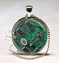 Circuit Board Photo Glass Tile Necklace Pendant - $10.99