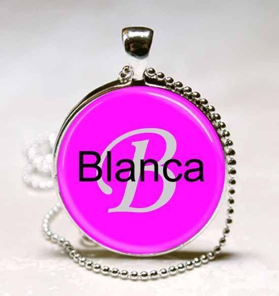 Handmade Blanca Name Monogram Glass Tile Necklace Pendant