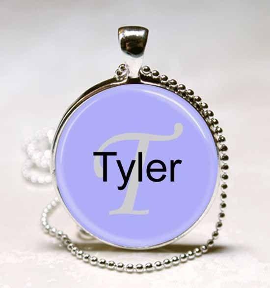 Handmade Tyler Name Monogram Glass Dome Necklace Pendant (NPD7060)