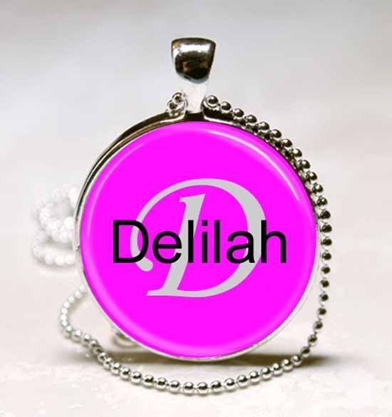 Handmade Delilah Name Monogram Glass Dome Necklace Pendant (NPD1038) - $10.99