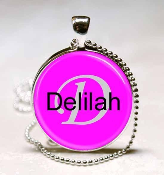 Handmade Delilah Name Monogram Glass Dome Necklace Pendant (NPD1038)
