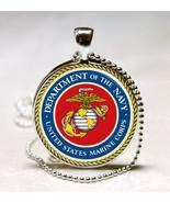 Marine Corp. Emblem Navy Glass Dome Necklace Pendant (PD0273) - $10.99