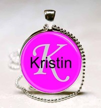 Handmade Kristin Name Monogram Glass Tile Necklace Pendant - $10.99