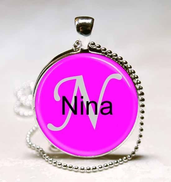 Primary image for Handmade Nina Name Monogram Glass Tile Necklace Pendant
