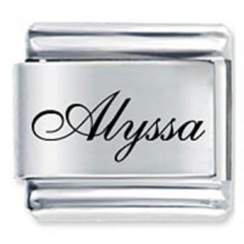 Primary image for 9mm Alyssa Laser Name Italian Charm  ( F )  (LN0253)