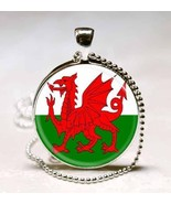 Welsh Flag Dragon Glass Tile Jewelry Necklace Pendant - $10.99