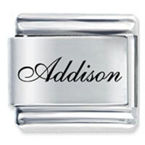 9mm Addison Laser Name Italian Charm ( F ) (LN0118)
