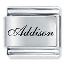 9mm Addison Laser Name Italian Charm ( F ) (LN0118) - $3.25