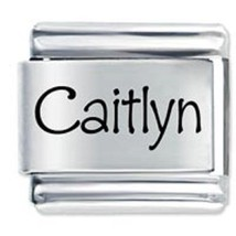 9mm Caitlyn Laser Name Italian Charm ( P )  (LN0655) - $3.25