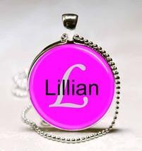 Handmade Lillian Name Monogram Glass Tile Necklace Pendant - $10.99