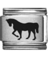 9mm Horse Land Animal Laser Italian Charm  (LA5002) - $3.50
