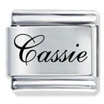 9mm Cassie Laser Name Italian Charm ( F )  (LN0753) - $3.25