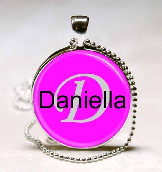 Handmade Daniella Name Monogram Glass Dome Necklace Pendant (NPD1011)