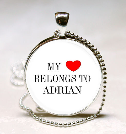 Primary image for Handmade My Heart Belongs to Adrian Name Glass Dome Necklace Pendant (HNPD0012)
