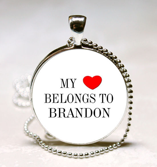 Primary image for Handmade My Heart Belongs to Brandon Name Glass Dome Necklace Pendant (HNPD0356)
