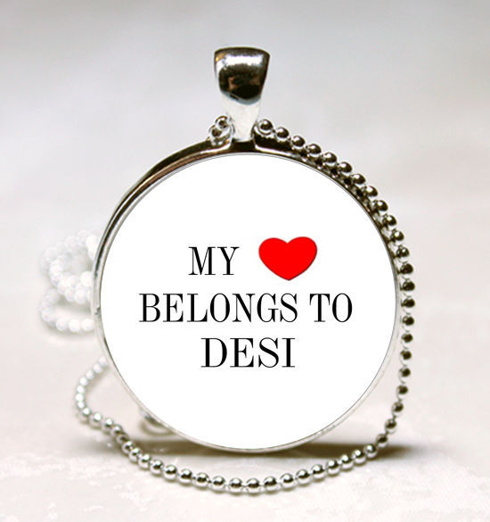 Handmade My Heart Belongs to DESI Name Glass Dome Necklace Pendant (HNPD0958) image 1