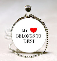 Handmade My Heart Belongs to DESI Name Glass Dome Necklace Pendant (HNPD... - $10.99
