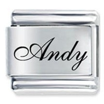 9mm Andy Laser Name Italian Charm ( F ) (LN0309) - $3.25