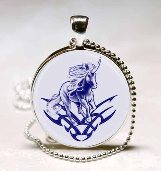 Blue Unicorn Design Photo Glass Dome Necklace Pendant (PD0561)
