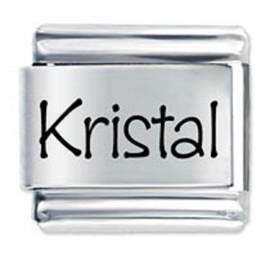 9mm Kristal Laser Name Italian Charm ( P )  (LN2205)