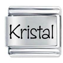 9mm Kristal Laser Name Italian Charm ( P )  (LN2205) - $3.25